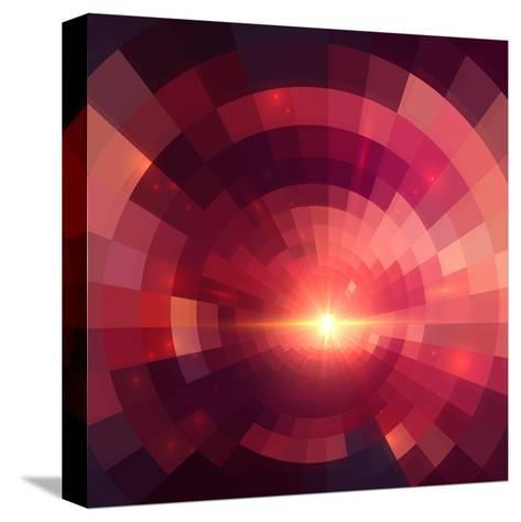 Abstract Red Shining Circle Tunnel Background-art_of_sun-Stretched Canvas Print