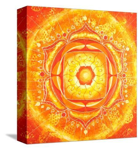 Abstract Orange Painted Picture with Circle Pattern, Mandala of Svadhisthana Chakra-shooarts-Stretched Canvas Print