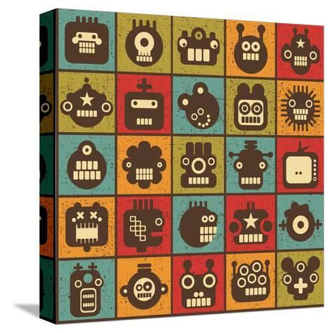 Robot and Monsters Cell Background-panova-Stretched Canvas Print