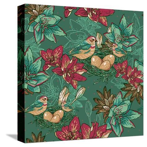 Floral Background with Bird-Varvara Kurakina-Stretched Canvas Print