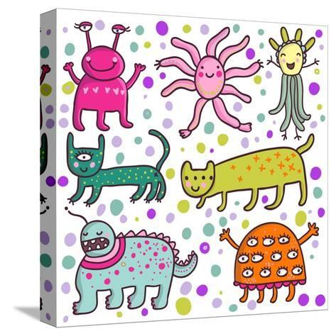 Cute Cartoon Monsters-smilewithjul-Stretched Canvas Print
