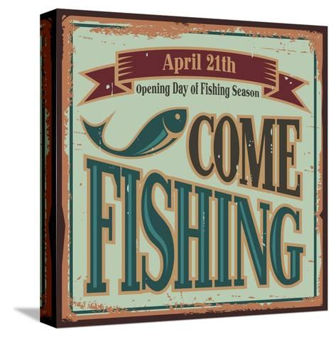 Vintage Fishing Metal Sign-Lukeruk-Stretched Canvas Print