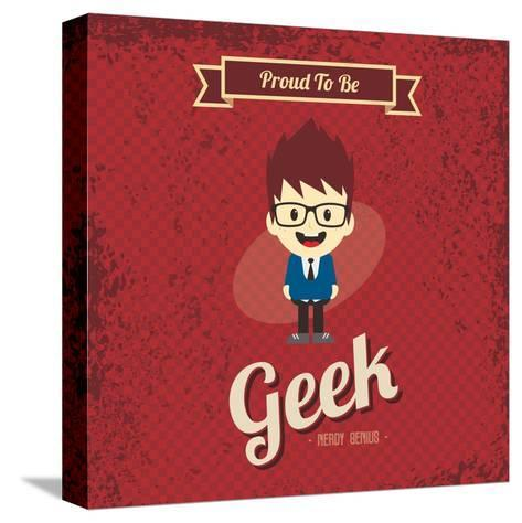 Cartoon Geek Character-vector1st-Stretched Canvas Print