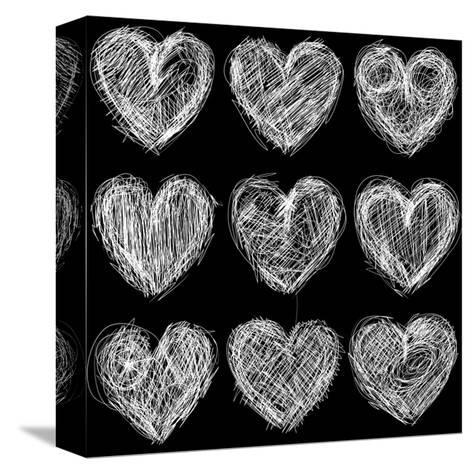 Hearts Chalkboard, Love Background and Texture-homobibens-Stretched Canvas Print