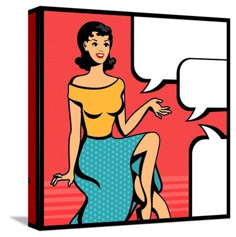 Illustration of Retro Girl in Pop Art Style-incomible-Stretched Canvas Print