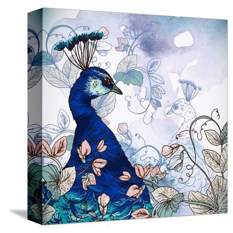 Floral Background with Peacock-Varvara Kurakina-Stretched Canvas Print