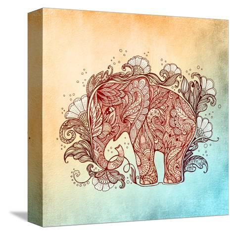Beautiful Hand-Painted Elephant with Floral Ornament-Vensk-Stretched Canvas Print