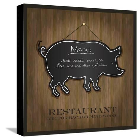 Blackboard Pig Restaurant Menu Card-Mondih-Stretched Canvas Print