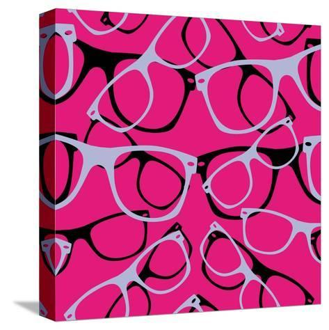 Glasses Seamless Pattern Retro Sunglasses. Vector Abstract Background- mvasya-Stretched Canvas Print
