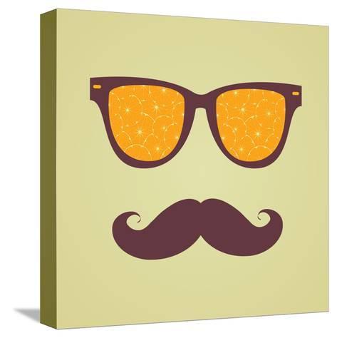 Vintage Hipster Background. Sunglasses Reflection Orange-AnnaKukhmar-Stretched Canvas Print