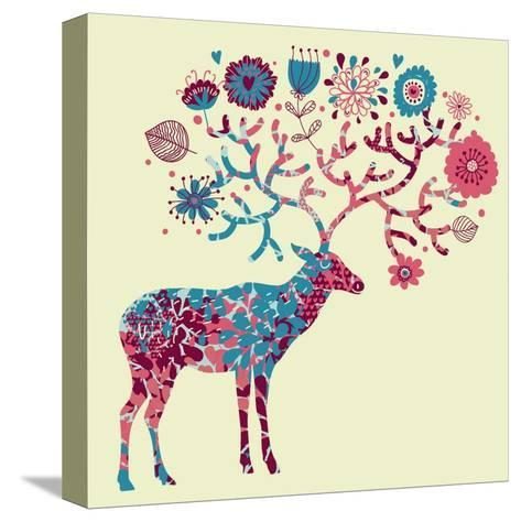 Deer Made of Flowers-smilewithjul-Stretched Canvas Print