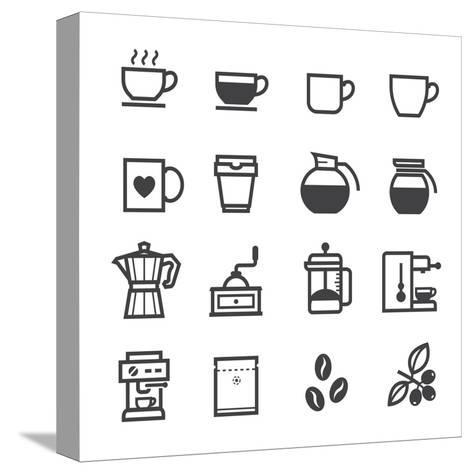 Coffee Icons-pking4th-Stretched Canvas Print