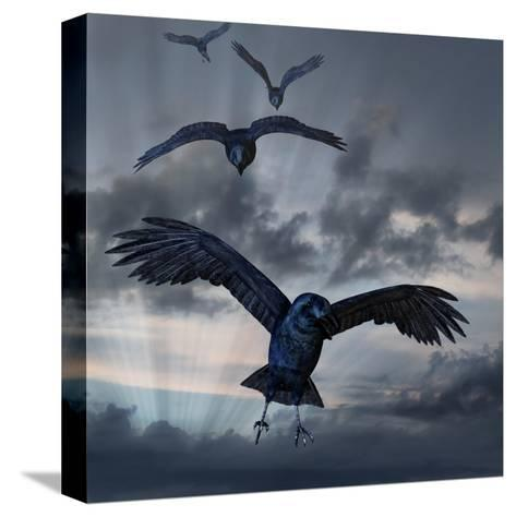 Crows Flying-AlienCat-Stretched Canvas Print