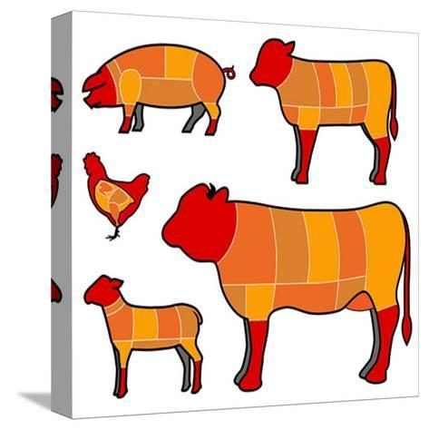 Cutting Meat- skocko-Stretched Canvas Print