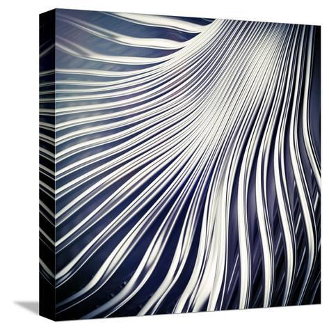 Abstract Art Silver Metal Lines Backdrop- 123dartist-Stretched Canvas Print