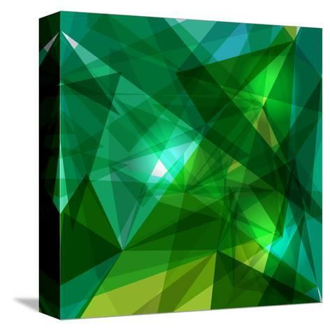 Blue and Green Geometric Pattern-cienpies-Stretched Canvas Print