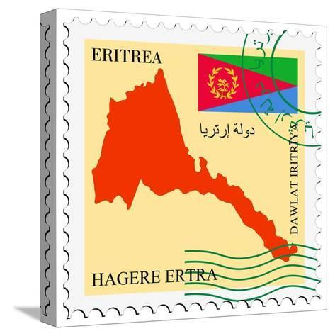 Stamp with Map and Flag of Eritrea-Perysty-Stretched Canvas Print