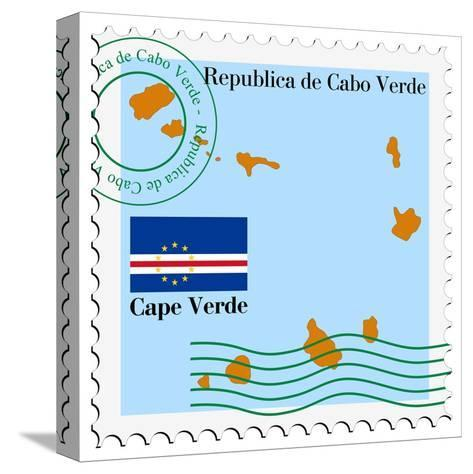 Stamp with Map and Flag of Cape Verde-Perysty-Stretched Canvas Print