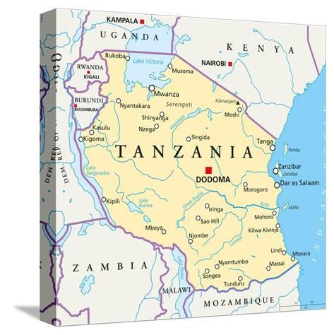 Tanzania Political Map-Peter Hermes Furian-Stretched Canvas Print