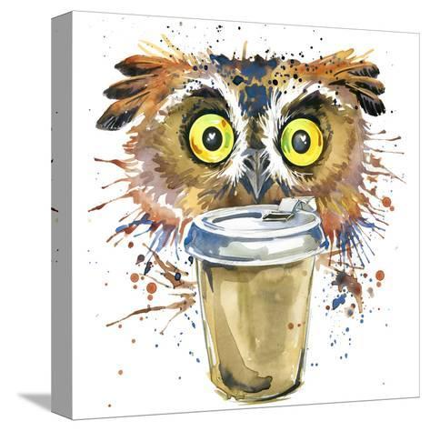 Coffee and Owl T-Shirt Graphics. Coffee and Owl Illustration with Splash Watercolor Textured Backgr-Dabrynina Alena-Stretched Canvas Print