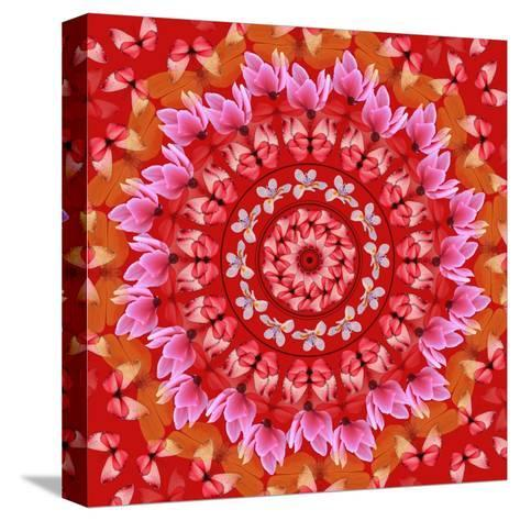 Red Mandala-AGCuesta-Stretched Canvas Print