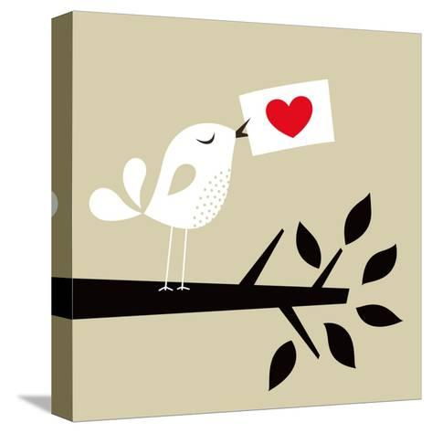 Bird Love Card- vector-RGB-Stretched Canvas Print