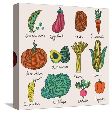 Tasty Vegetables-smilewithjul-Stretched Canvas Print