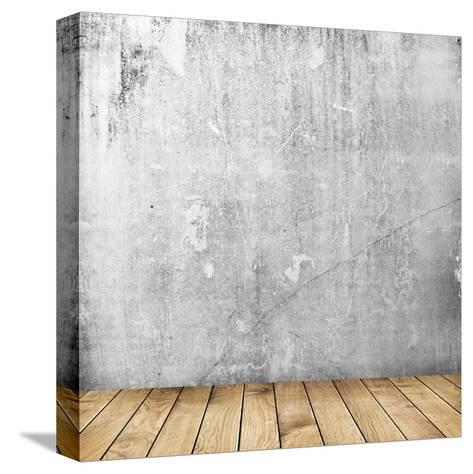 Empty Interior of Vintage Room with Grey Grunge Stone Wall and Old Wooden Floor-Olegkalina-Stretched Canvas Print