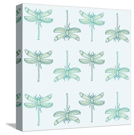 Teal Pattern with Dragonflies- ameu-Stretched Canvas Print