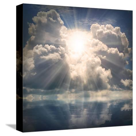 The Sun on Dramatic Sky over Sea-Kletr-Stretched Canvas Print