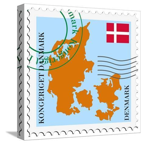 Stamp with Map and Flag of Denmark-Perysty-Stretched Canvas Print