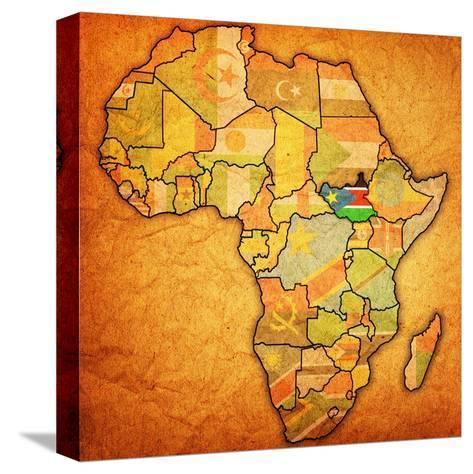 South Sudan on Actual Map of Africa-michal812-Stretched Canvas Print