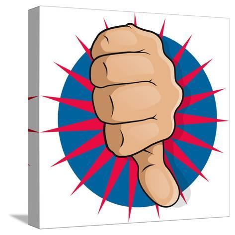 Vintage Pop Art Thumbs Down-jorgenmac-Stretched Canvas Print