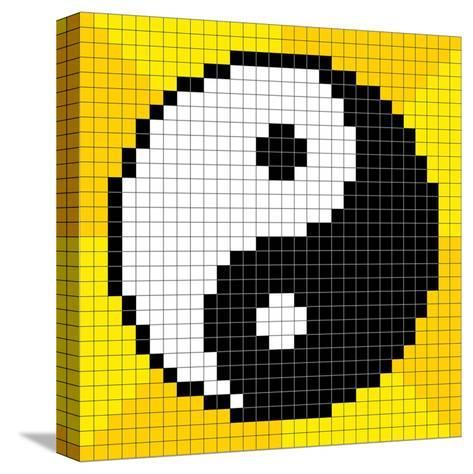 8-Bit Pixel-Art Yin Yang Symbol-wongstock-Stretched Canvas Print