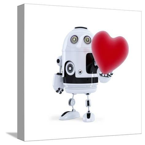 Cute Robot Holding A Big Red Heart. Isolated-Kirill_M-Stretched Canvas Print