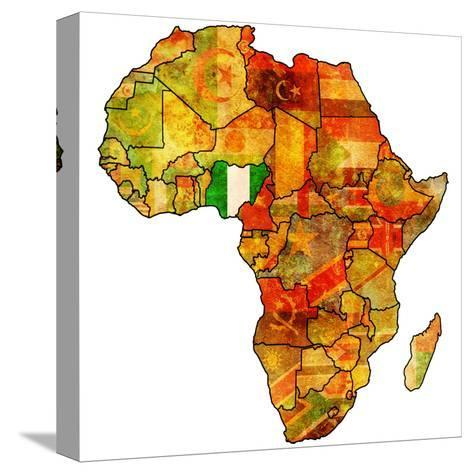 Nigeria on Actual Map of Africa-michal812-Stretched Canvas Print