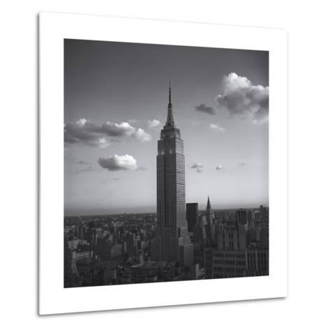 Empire State Building White Clouds - New York City Iconic Building, Top View-Henri Silberman-Metal Print