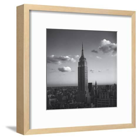 Empire State Building White Clouds - New York City Iconic Building, Top View-Henri Silberman-Framed Art Print