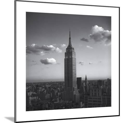 Empire State Building White Clouds - New York City Iconic Building, Top View-Henri Silberman-Mounted Photographic Print