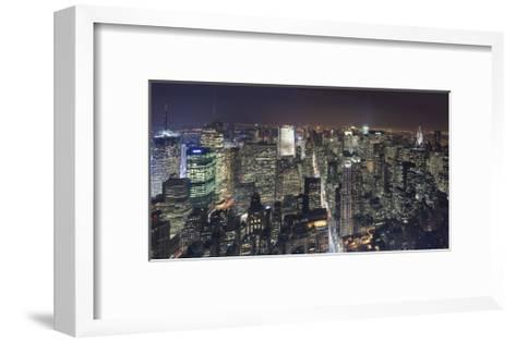 Manhattan North View, Night Panorama 2 - New York City Top View-Henri Silberman-Framed Art Print
