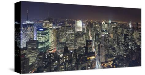 Manhattan North View, Night Panorama 2 - New York City Top View-Henri Silberman-Stretched Canvas Print
