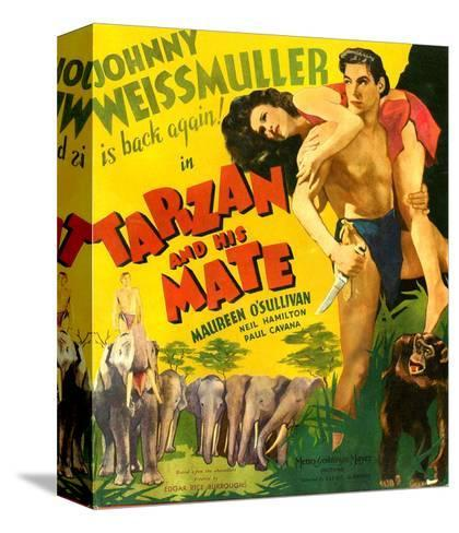 TARZAN AND HIS MATE, from left: Maureen O'Sullivan, Johnny Weissmuller, 1934.--Stretched Canvas Print