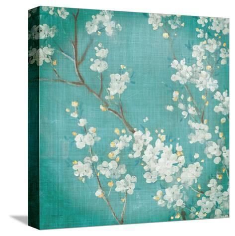 White Cherry Blossoms II on Blue Aged No Bird-Danhui Nai-Stretched Canvas Print