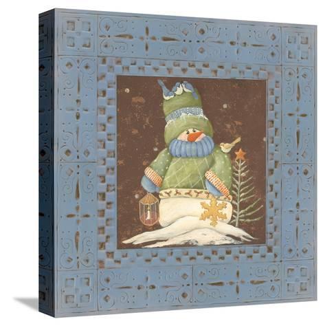 Blue Tin Snowman-Jo Moulton-Stretched Canvas Print