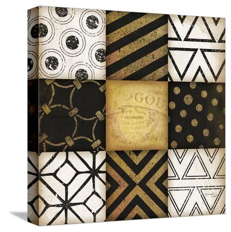 Black-White-Gold I-Jennifer Pugh-Stretched Canvas Print