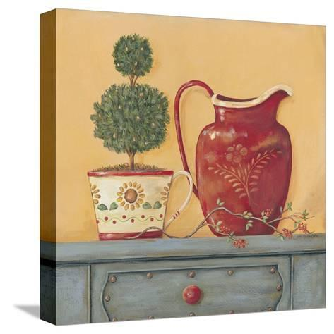 Red Vase-Jo Moulton-Stretched Canvas Print
