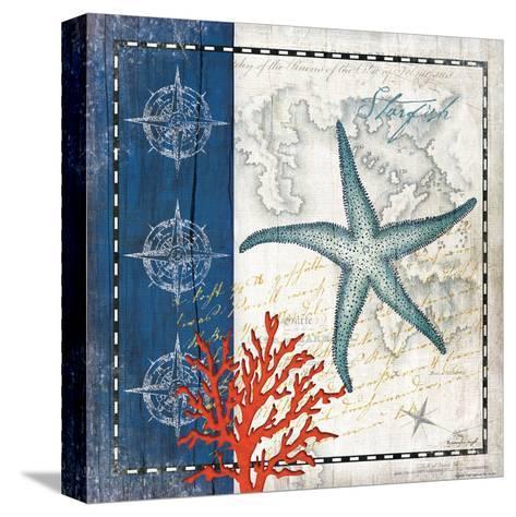 Coastal Blue Starfish-Jennifer Pugh-Stretched Canvas Print