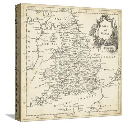 Map of England and Wales-T^ Jeffreys-Stretched Canvas Print