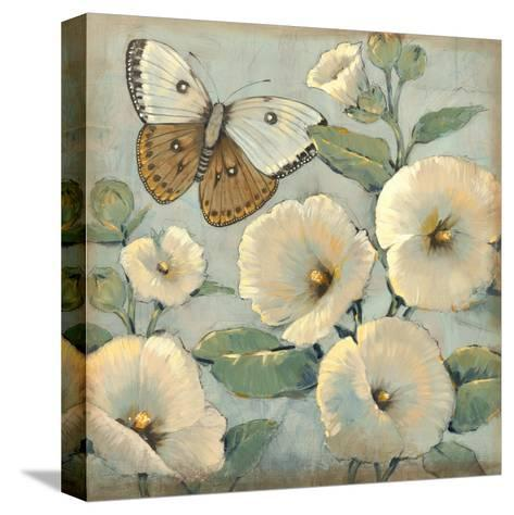 Butterfly and Hollyhocks II-Tim O'toole-Stretched Canvas Print