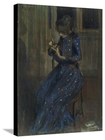 Girl in a Blue Dress-Philip Wilson Steer-Stretched Canvas Print